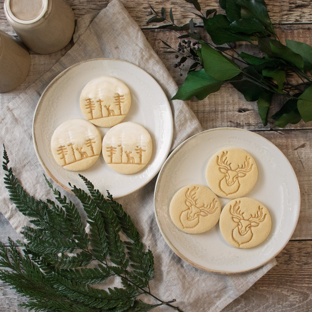 set of 2 stag forest and stag head cookies