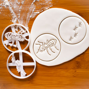 Set of 2 Ant themed Cookie Cutters: Realistic Ant and Ants Trail