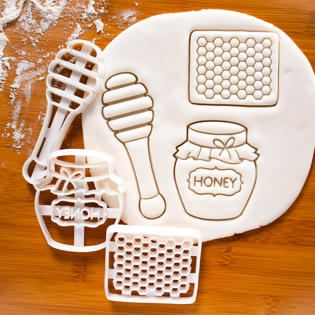 Set of 3 Honey themed Cookie Cutters: Honey Cut Comb, Honey Pot, Honey Dipper