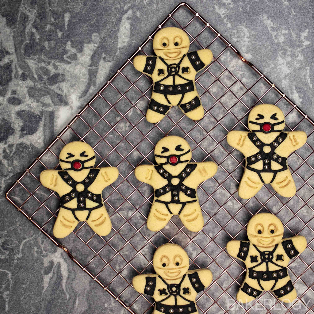 set of 2 BDSM gingerbread man cookies - including dominant and submissive