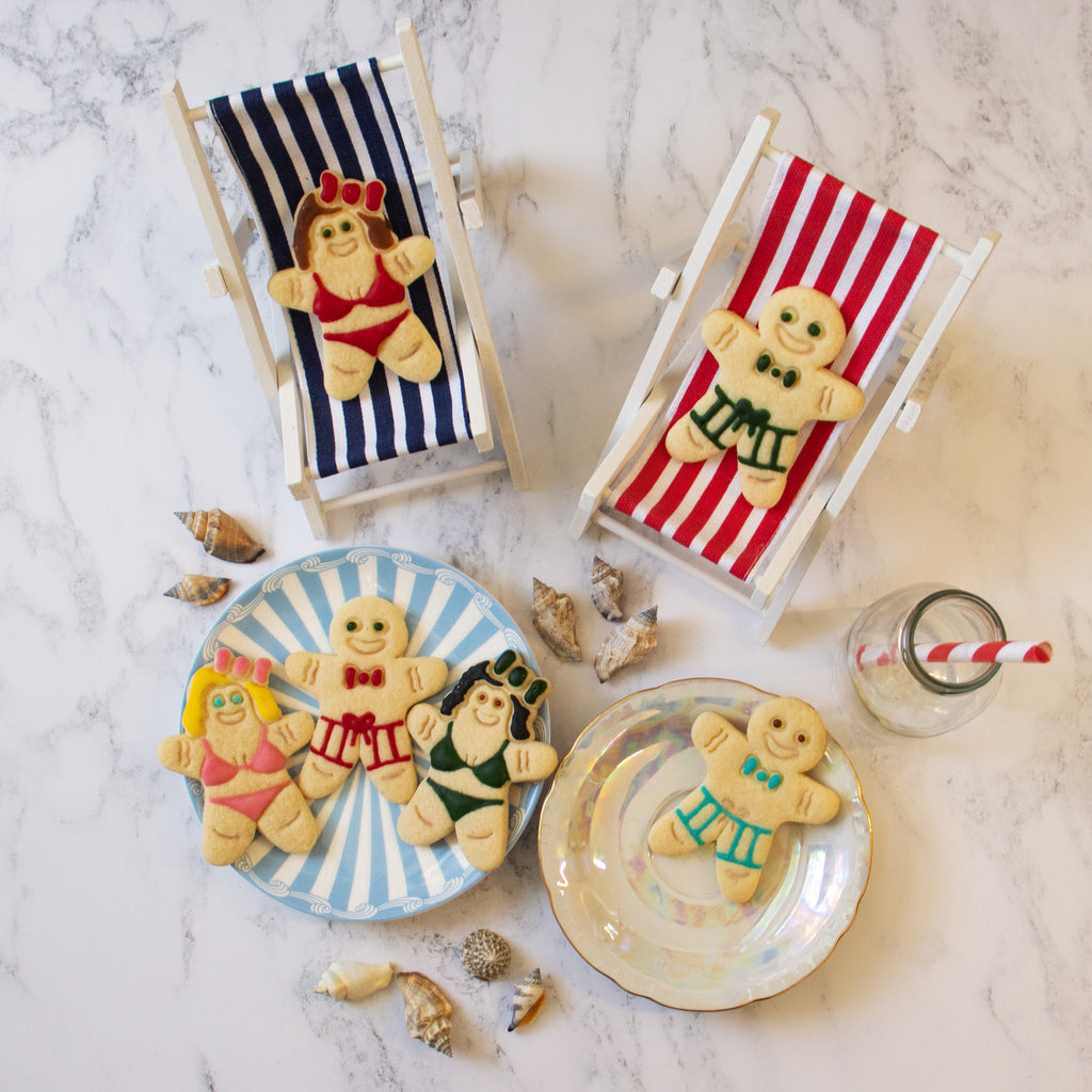 summer gingerbread man and woman in bikini and summer shorts cookies