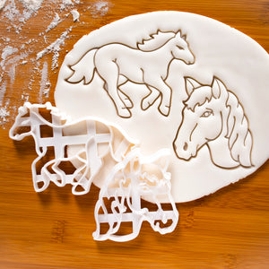 Set of 2 Horse Cookie Cutters: Face & Running