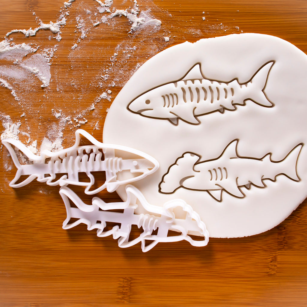 Set of 2 Shark Cookie Cutters (Hammerhead Shark & Tiger Shark)