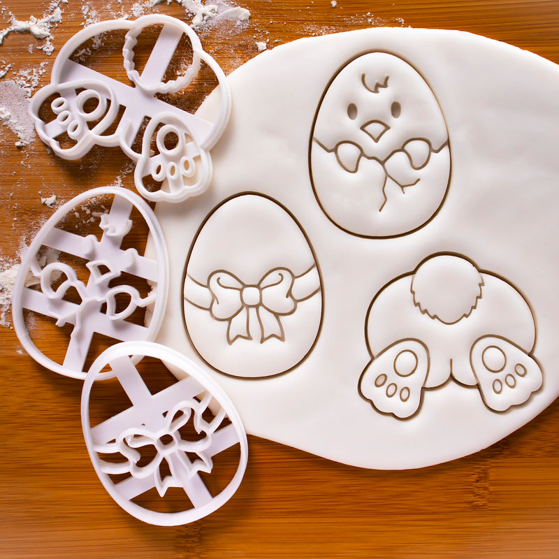 Set of 3 Easter themed Cookie Cutters: Bunny Butt, Easter Egg, and Easter Chick