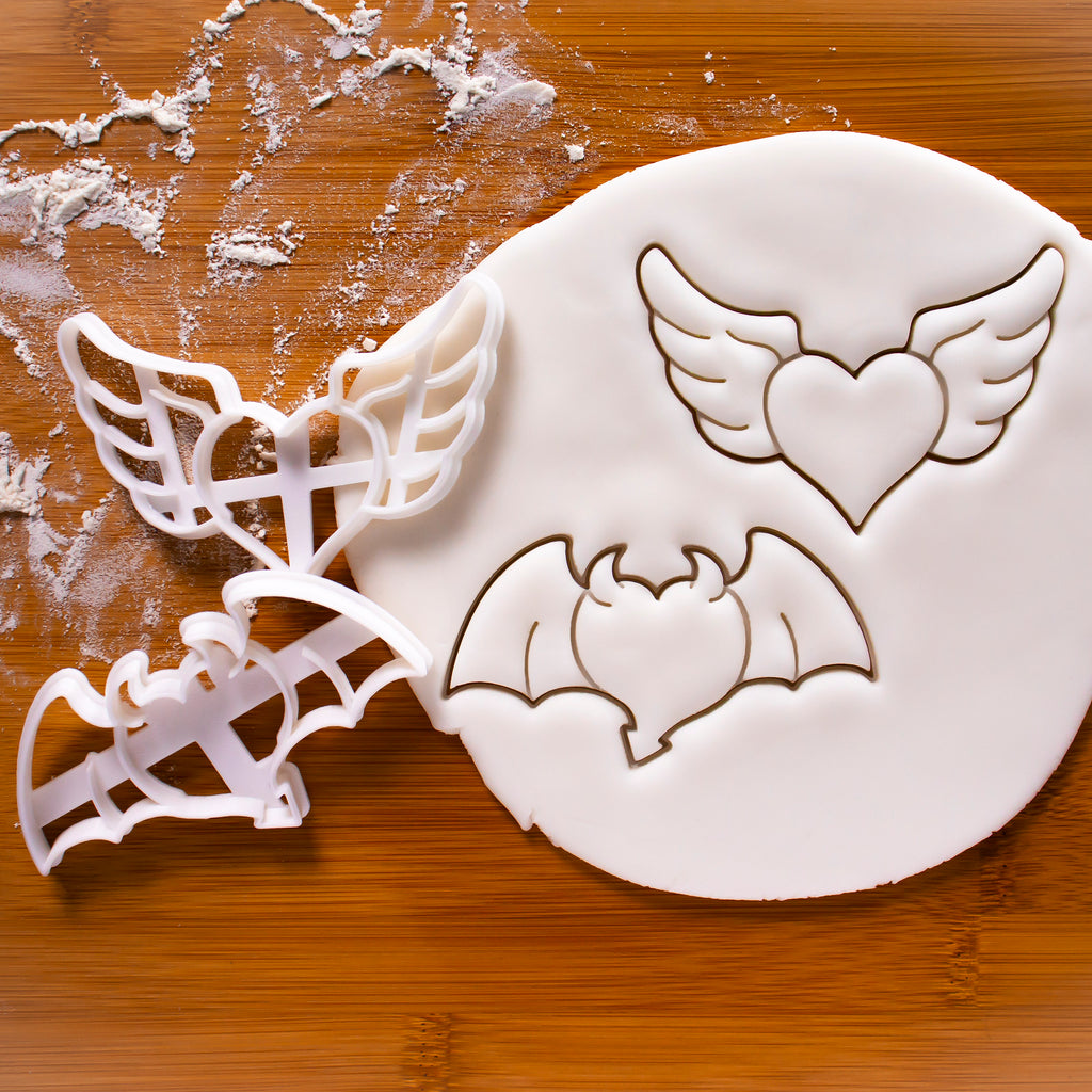 Set of 2 Cookie Cutters: Heart with Angel and Devil Wings