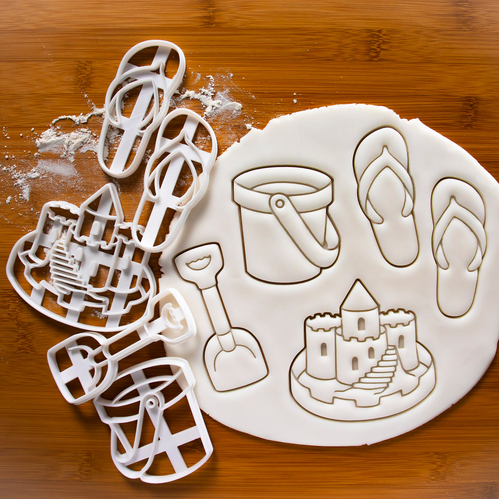 Set of 4 Summer Beach Cookie Cutters (Bucket, Sand Castle, Flip Flops, & Spade)