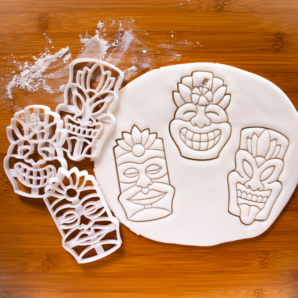 Set of 3 Tiki Mask Cookie Cutters calm warrior happy