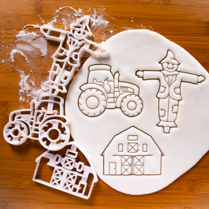 Set of 3 Farming Cookie Cutters (Barnhouse, Scarecrow, & Tractor)
