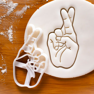 Crossed Fingers Luck Hand Sign Cookie Cutter
