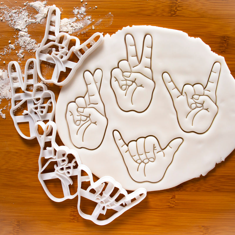 set of 4 hand sign cookie cutters: Victory V Rock horns luck crossed fingers shaka