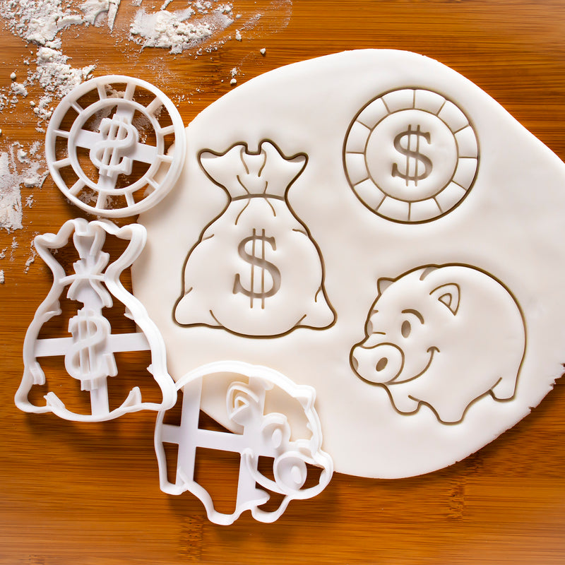 Set of 3 Money themed Cookie Cutters: money bag, gold coin, piggy bank