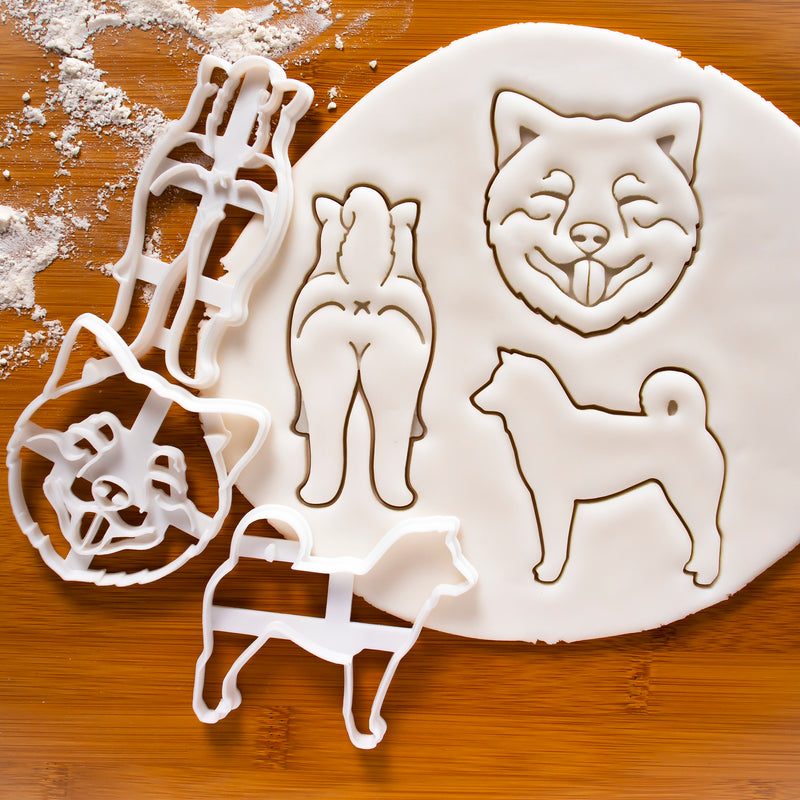 Set of 3 Shiba Inu Cookie Cutters: Silhouette, Face, & Butt