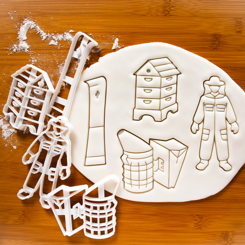 Set of 4 Beekeeper cookie cutters: Beehive, Hive Tool, Beekeeper Suit, and Smoker