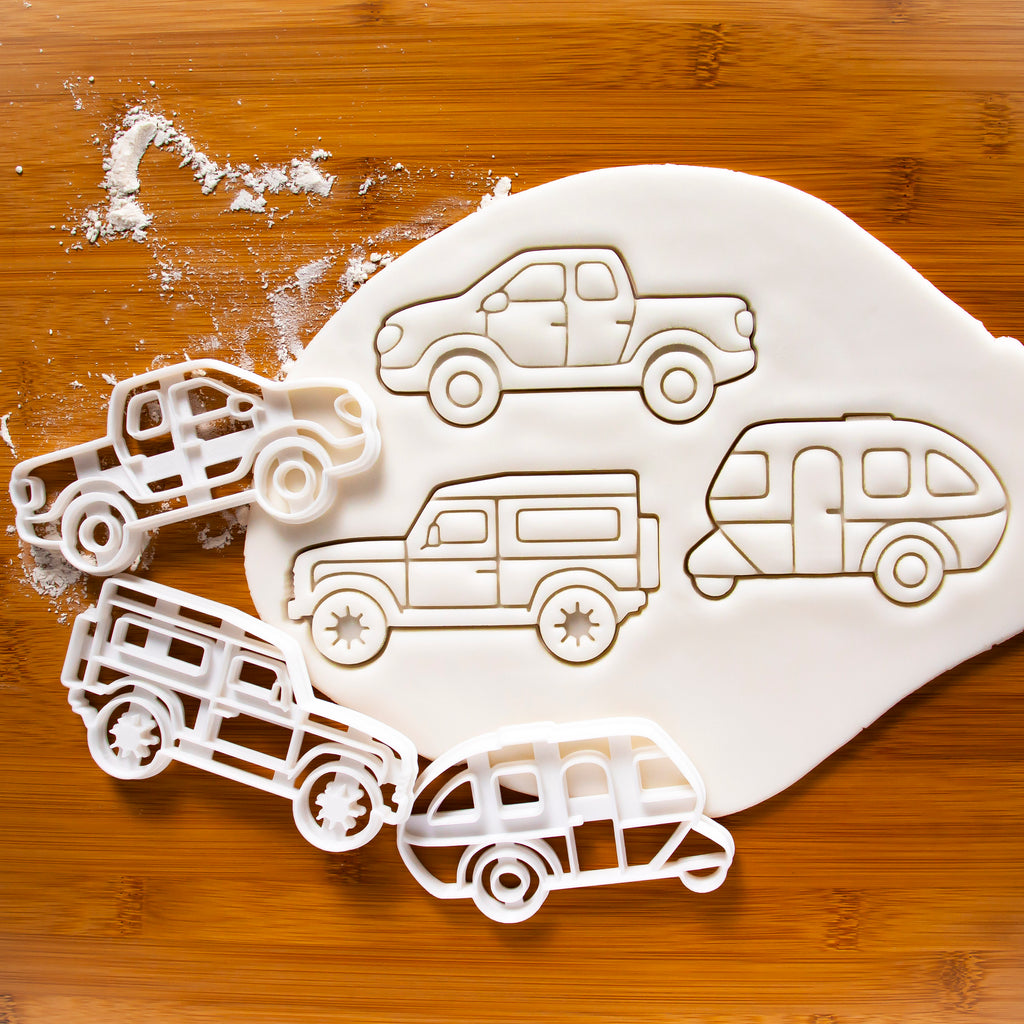 Set of 3 Camping Vehicles Cookie Cutters: Caravan, Pickup Truck, and SUV