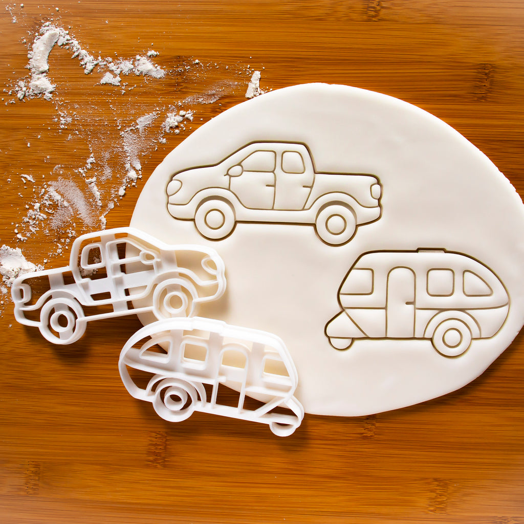 Set of 2 Camping Vehicles Cookie Cutters: Caravan and Pickup Truck