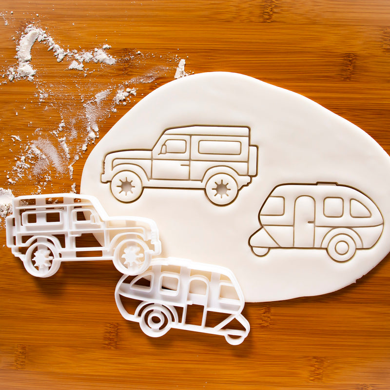 Set of 2 Camping Vehicles Cookie Cutters: Caravan and SUV