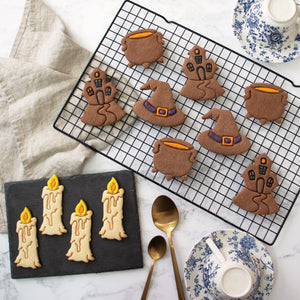 Set of 4 Witchcraft themed Cookies: Candle, Witch Hat, Cauldron, and Haunted House