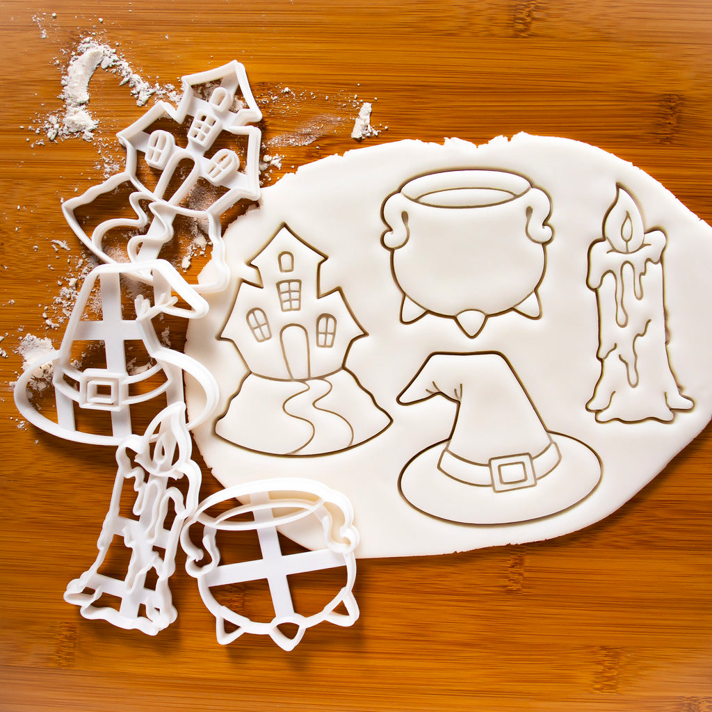 Set of 4 Witchcraft themed Cookie Cutters: Candle, Witch Hat, Cauldron, and Haunted House
