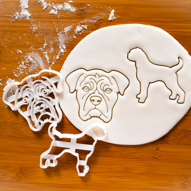 Set of 2 Boxer cookie cutters: Silhouette and Face