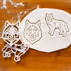 Set of 2 Wolf Cookie Cutters: Face and Body
