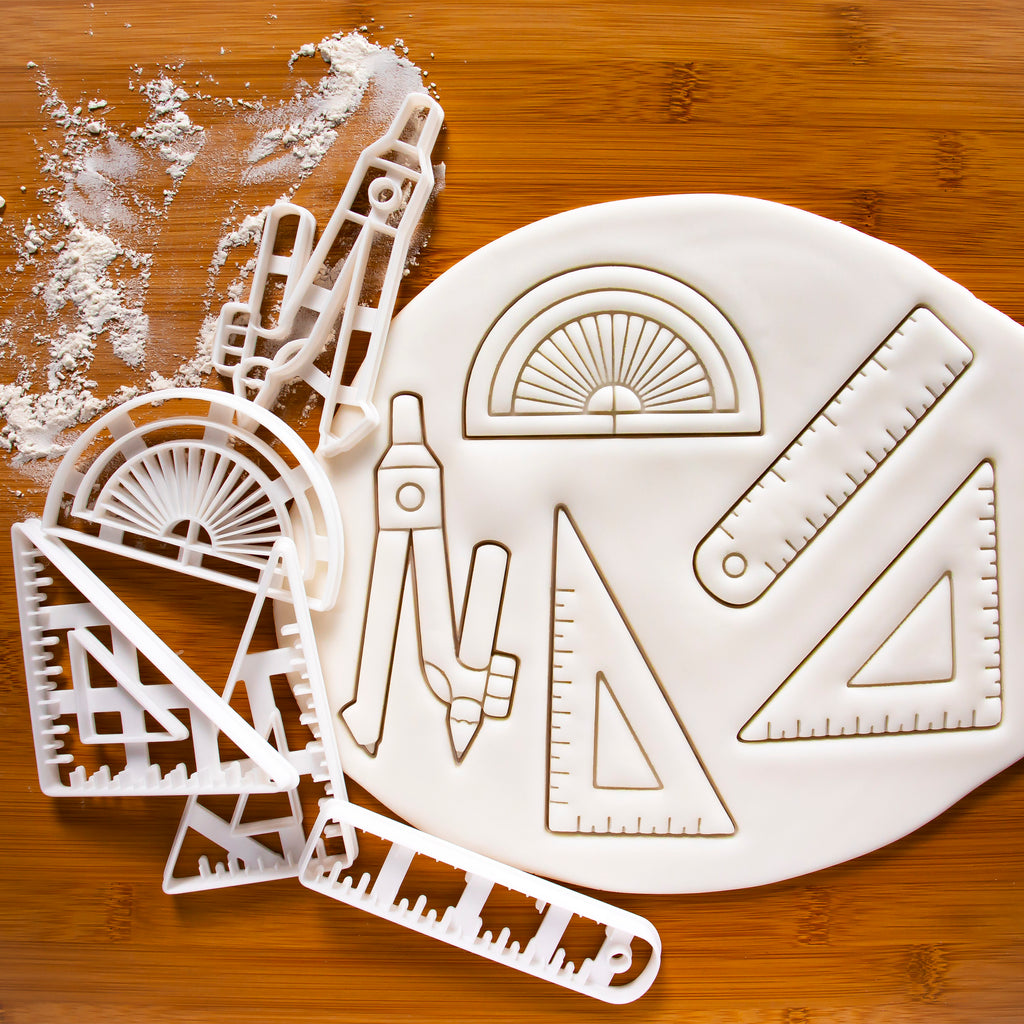 Set of 5 Technical Drawing Instrument Cookie Cutters: Compass, Ruler, 45 Degree Set Square, 60 Degree Set Square, Ruler