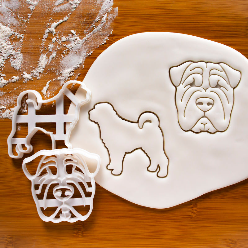 Set of 2 Shar Pei cookie cutters