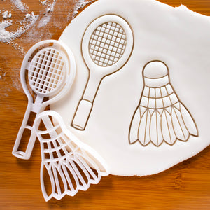 Set of 2 Badminton Racket and Shuttlecock Cookie Cutters