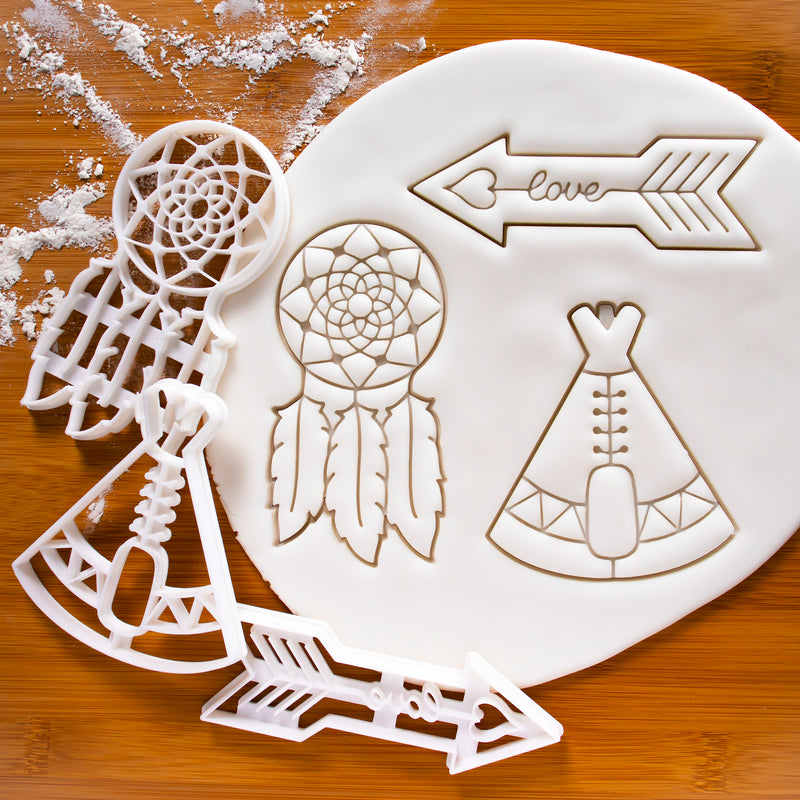 Set of 3 Bohemian Cookie Cutters: Love Arrow, Dreamcatcher, and Teepee