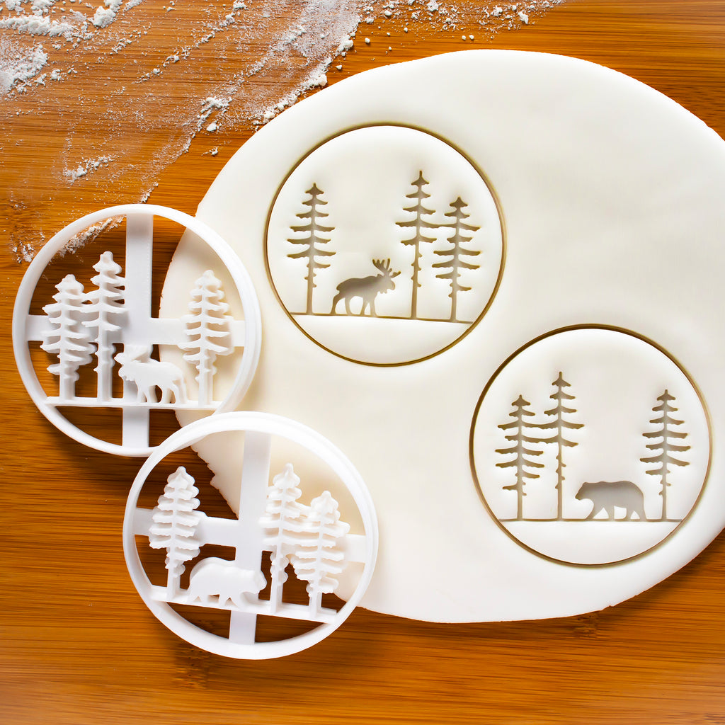 Forest Moose and Bear Cookie Cutters