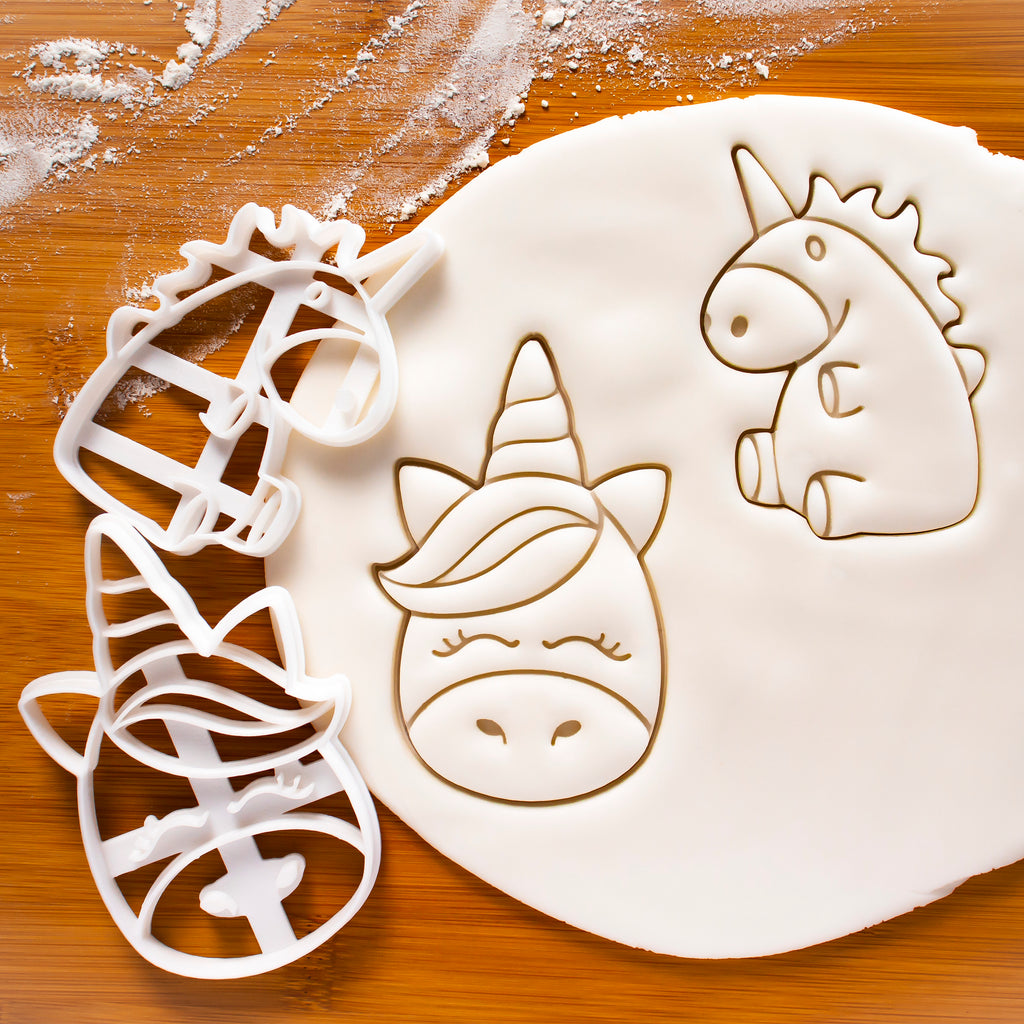 Cute Unicorn Face and Body Cookie Cutters