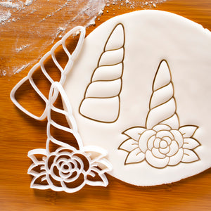 Set of 2 Unicorn Horn Cookie Cutters (with flower and without)