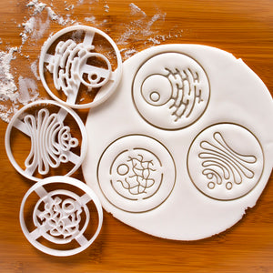 Set of 3 Human Cell Organelles Cookie Cutters - Golgi Apparatus, Nucleus, and Endoplasmic Reticulum