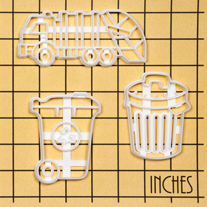 Set of 3 Garbage themed Cookie Cutters: Rubbish Bin, Rubbish Truck, and Recycling Wheelie Bin