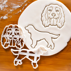 Set of 2 Working Cocker Spaniel Cookie Cutters: Face and Silhouette