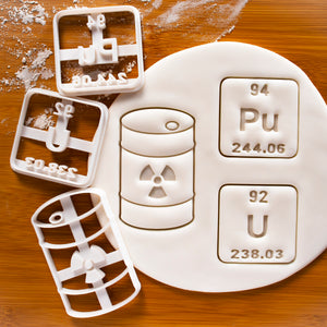 Set of 3 Radioactive Science Cookie Cutters: Nuclear Waste, Plutonium and Uranium Periodic Table Elements