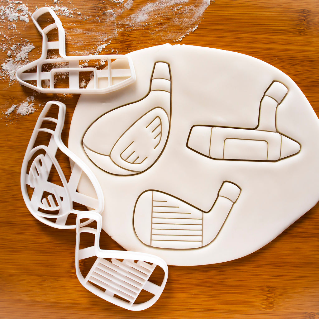 Set of 3 Golf Club Cookie Cutters: Driver, Iron, Putter