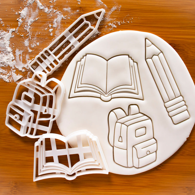 Set of 3 Back to School Cookie Cutters: Backpack, Book, Pencil