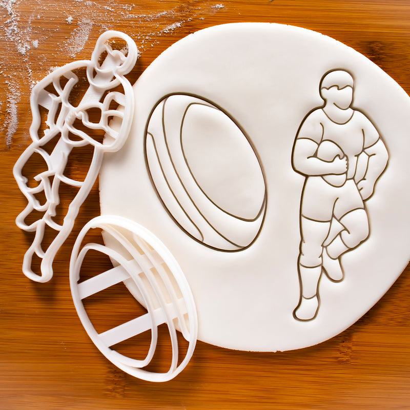 Set of 2 Rugby themed Cookie Cutters: Player and Ball