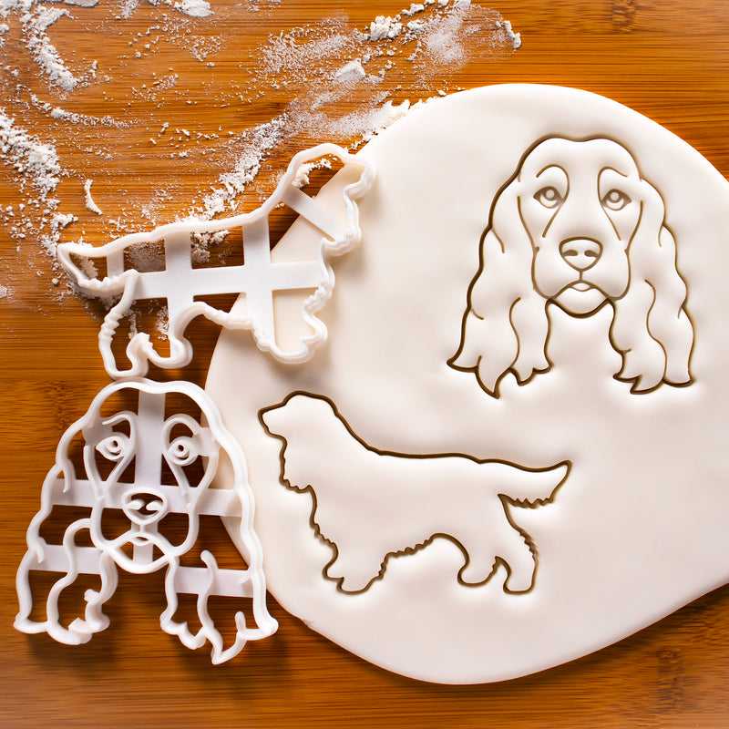 Set of 2 Show Cocker Spaniel cookie cutters - Face and Body