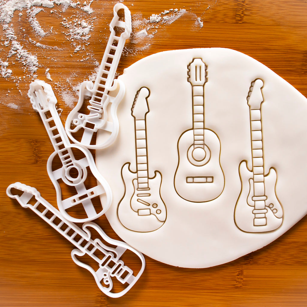Set of 3 Guitar Cookie Cutters - Acoustic, Electric and Electric Bass Guitars