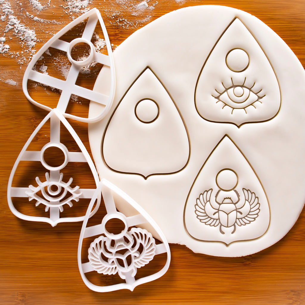 Set of 3 Planchette Cookie Cutters - Plain, Eye, Scarab