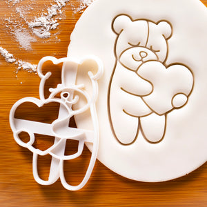 Cute Bear Hugging a Heart cookie cutter