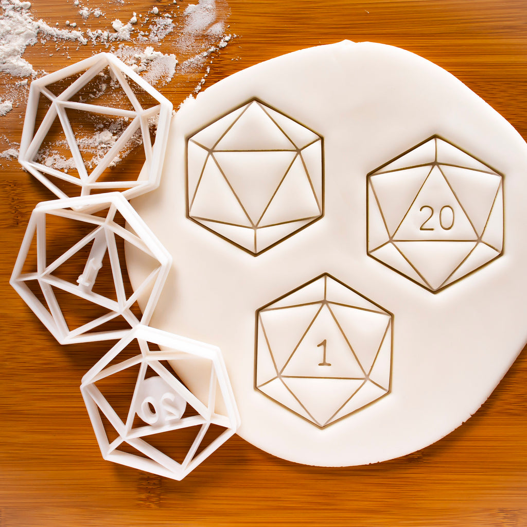 Set of 3 Cookie Cutters - Icosahedron, Natural 1, and Natural 20
