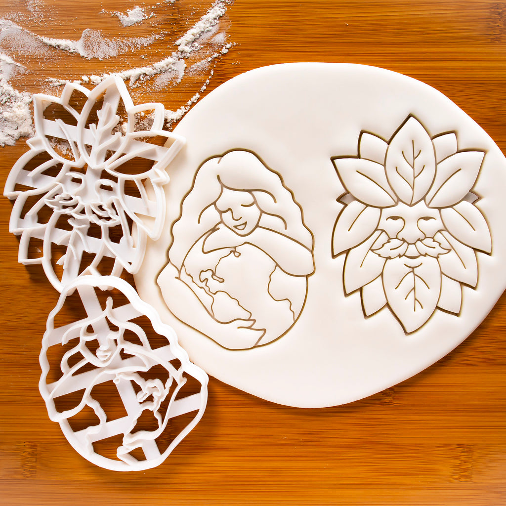 Set of 2 cookie cutters - Gaia Earth Goddess and Green man