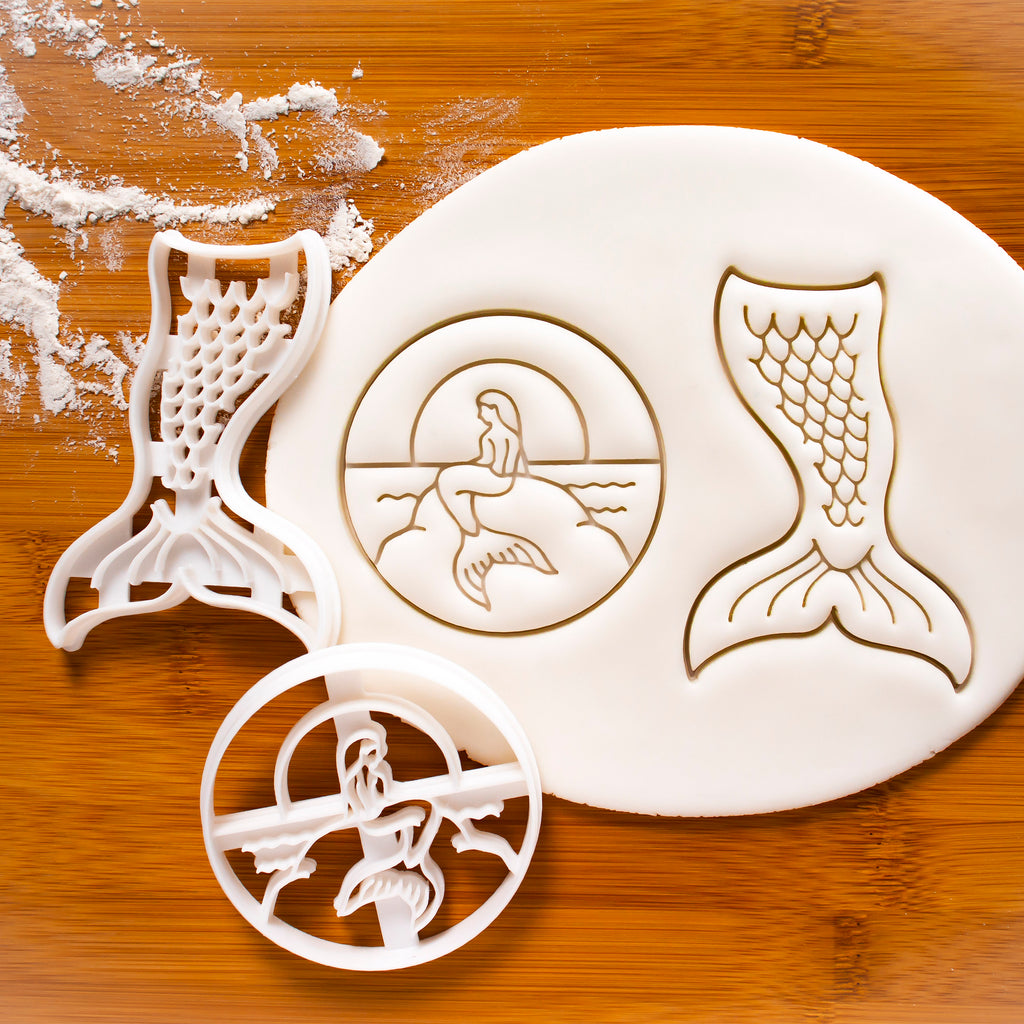 Set of 2 Mermaid cookie cutters (Sunset and Mermaid Tail)