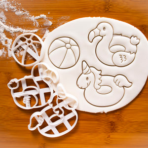 Set of 3 Cookie Cutters (Beach Ball, Flamingo Float, Unicorn Float)
