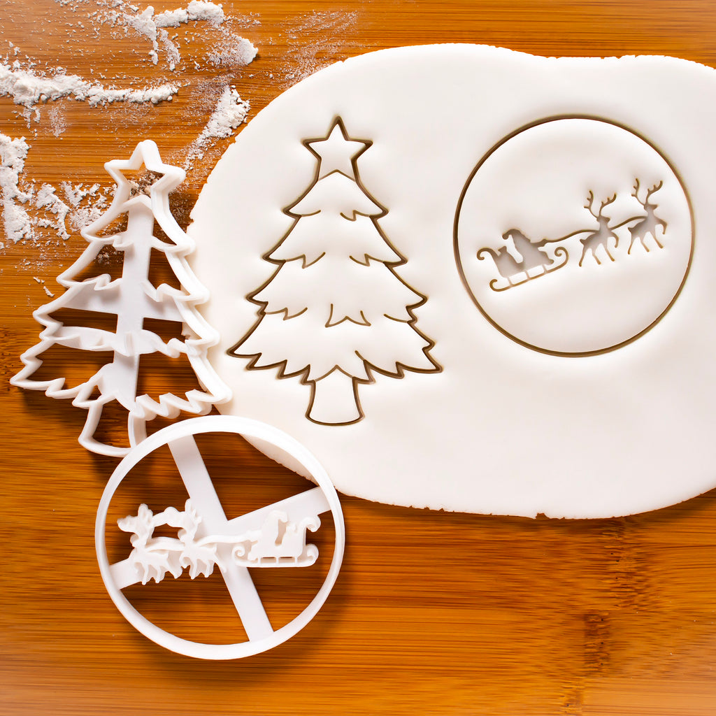 Christmas Tree and Santa Claus on Reindeer Sleigh Cookie Cutters