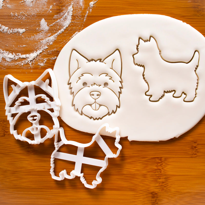 Set of 2 West Highland White Terrier Dog cookie cutters
