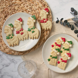 Set of 2 Christmas Animals cookies (Designs: Alpaca and Baby Penguin)
