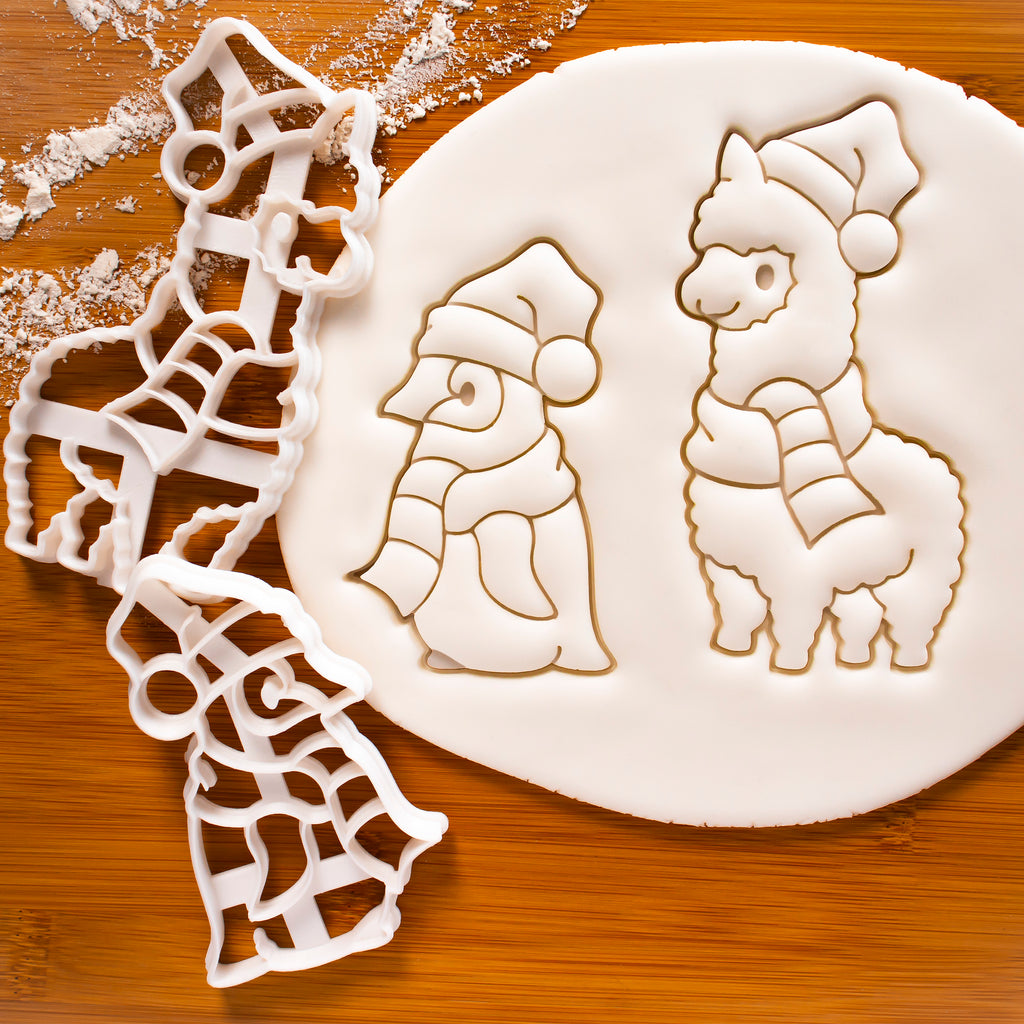 Christmas Alpaca and Baby Penguin cookie cutters